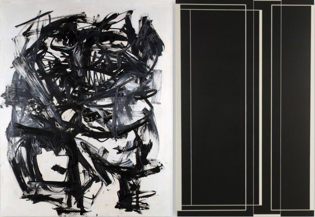 Obras de Antonio Saura y Eduardo Arbos en 'Blanco/Negro, Sujeto, Espacio, Percepción'.