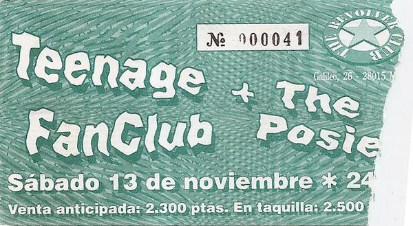 Entrada de un concierto de The Posies y Teenage Fanclub en 1993 en la sala Revolver de Madrid, que cuelga del MySpace de los primeros cedida por Olga Palmero.