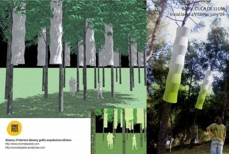 Recreación virtual de 'Cuques de Llum', la instalación de Onomatopeia para Solstici.